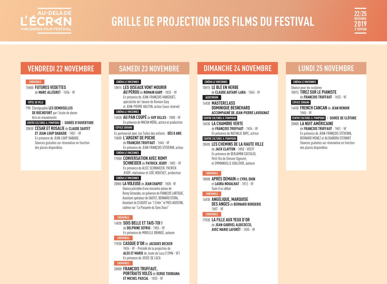 Grille de programmation Festival Au-delà de l'Écran